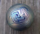 Vintage Eickholt King Tut Glass Paperweight Iridescent Gold and Cobalt 1983