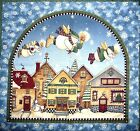 RARE DEBBIE MUMM SNOWMAN COTTON FABRIC PANEL - TEA COZY OR WALL HANGING - OOP