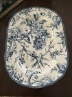 222 FIFTH ADELAIDE BLUE LARGE OVAL SERVING PLATTER BRAND NEW TOILE BIRD