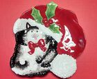 Fitz & Floyd Christmas Kitty Claus Cookie Canape Plate Holiday Kitten Cat Decor