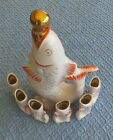 60s Russian Soviet Porcelain Decanter Polonsky ZHK with 6 glasses Fish with Kids