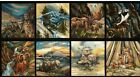 8 BEAUTIFUL WILDLIFE PANELS WOLF FOX EAGLE GOAT OTTER FOR QUILTS HOME DECOR