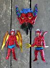 Set of 3 Devils - Mexican hand painted Tin ornaments - El Diablo - Folk Art