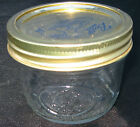 VINTAGE BALL WIDE MOUTH 1/2 PINT CLEAR GLASS JAR W/ LID