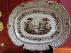 HUGE ANTIQUE BROWN STAFFORDSHIRE TRANSFERWARE GRECIAN PLATTER