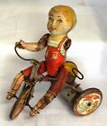 Unique Art Kiddy Cyclist Tricycle Tin Litho Wind Up Toy - As Is Parts/Repair
