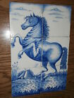 Vintage 20th Century 6 Piece Blue Delft Rearing Horse Tiles