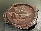 Vintage Hand Carved Etched Wood Coaster Country Japanese Brown
