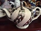 Ellgreave By Wood And Sons Silver and Cream Striped Teapot.