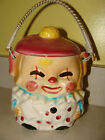 VINTAGE ESD (made in Japan) Hand-painted Ceramic Clown Biscuit Cookie Jar