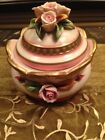 antique Capodimonte Porcelain Bisque Lidded Box Hand Painted Roses