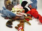 Beanie Babies Lot Ocean Sea Life Jelly Fish Seahorse Crab Dolphin Crab Shark