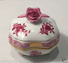 VINTAGE HEREND RASPBERRY FOOTED COVERED TRINKET BOX WITH ROSE FINIAL