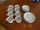 Set of 8 Sterling China Co. TWA cup, saucer, and dessert plates white silver rim