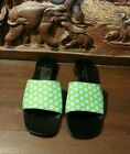 KATE SPADE NEW YORK BLACK POLKA DOT CANVAS LEATHER SLIDES SANDALS ITALY SZ 5.5 B