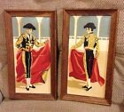 Pair framed vintage paint by number PBN Paintings Spanish Matador Bull Fighter