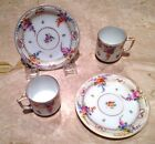 Antique SET of (3) German Dresden Demitasse Cups/Saucers Donath circa 1891-1916