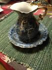 Vintage Japan Pitcher with Wash Basin Hand Painted Paisley Design Gold Accents