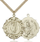 Men's 14K Gold Filled Our Lady Guadalupe Virgin Mary Medal Necklace Pendant