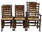 Vintage Antique Style Set of Six Oak Ladderback Dining Room Chairs Ladder Back