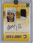 2014-15 ITG Superlative Vault Martin St. Louis Patch Jersey On Card Auto (1 1)