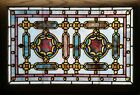 Antique American Stained Glass Window w/Chunk Jewels, likely by Rudy Bro.