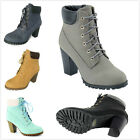 NEW Womens Fashion Lace Up Chunky Stacked High Heel Ankle Booties Pumps Shoes