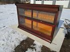 ANTIQUE C-1910 DOUBLE WIDE MAHOGANY GUNN MFG 2 SECTION LEADED BARRISTER BOOKCASE