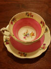 Saucer Pink and Gold Bands Multi Floral Pattern