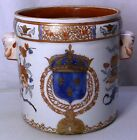 Samson Porcelain Armorial Cachepot Chinese Export Style HP Gilt Ca. late 1800's