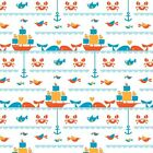 Birch Organic Fabric - Marine Too, Seafaring Cotton Fabric **SALE**
