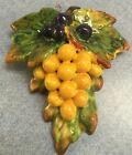 Deruta Pottery-grape Wall Plaque With Relief.Made/Painted by hand-Italy