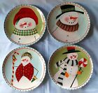 Snowman Frosty Folks Salad Dessert Plates Set of 4 Oneida Fiddlestix Christmas