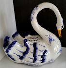 Vintage REEL Ceramic Portugal MAJOLICA Handpainted Swan Sculpture Figurine