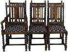 English Antique Set of Six Barley Twist Oak Dining Room Chairs Jacobean Carved