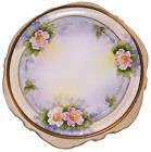 Noritake Sculpted Porcelain Plate Morimura Hand Painted Pink Flowers Purple Gold