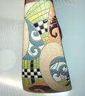 VTG RUSSIAN MODERN ART GLAZED ENAMEL INLAY DECO STYLE HANDLE STONE POTTERY VASE