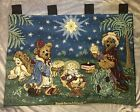 Boyds Bears Christmas Nativity Holiday Pageant Tapestry Wall Hanging Mint