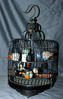 VINTAGE CHINESE ANTIQUE BLACK BAMBOO BIRDCAGE HANDCRAFTED 15 DECORATIVE PIECES