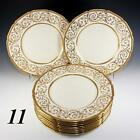 Elegant c.1928 11pc Royal Doulton HP Raised Gold Encrusted Enamel Dinner Plates