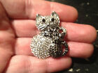 VINTAGE Signed OFF PARK COLLECTION Silver Tone Crystal Cat Kitten BROOCH Pin JTV