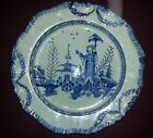 A Leeds Feather Edged Creamware Blue Transfer Printed Plate