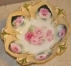 R S Prussia Large Serving Bowl Pink Roses gold yellow