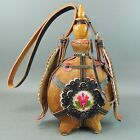 Vintage Large Canteen Hungarian LEATHER WOOD FUR Flask- NM