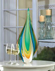 Tall Sophisticated Modern Contemporary Green Gold  Blue Flame Art Glass Statue