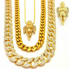NEW ICED OUT MICRO ANGEL 3 CHAINS SET GOLD FINISH MIAMI CUBAN LINK NECKLACE MENS