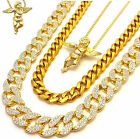 ICED OUT BABY ANGEL 3 CHAINS SET GOLD FINISH MIAMI CUBAN LINK NECKLACE HIP HOP