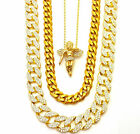 MENS MICRO ANGEL 3 CHAINS SET GOLD FINISH MIAMI CUBAN LINK NECKLACE ICED OUT