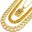 MENS DREAM CHASER 3 CHAINS SET GOLD FINISH MIAMI CUBAN LINK NECKLACE ICED OUT
