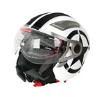 DOT White Star 3 4 Open Face Dual Visor Motorcycle Helmet W Sun Shield S M L XL